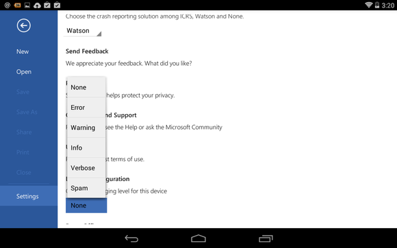 Office for Android Microsoft Word settings