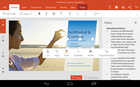 Office for Android Microsoft PowerPoint formatting