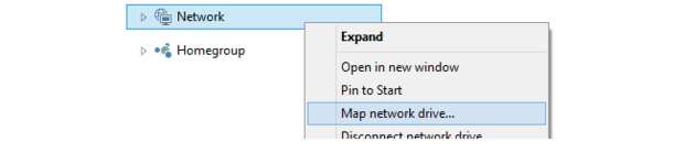 Map network drive.