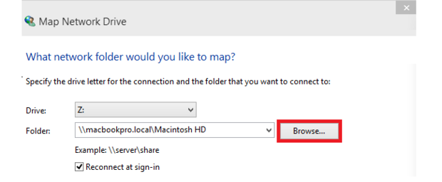 Map network drive window.