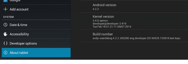 Andy running Android 4.2.2 (Kit-Kat)