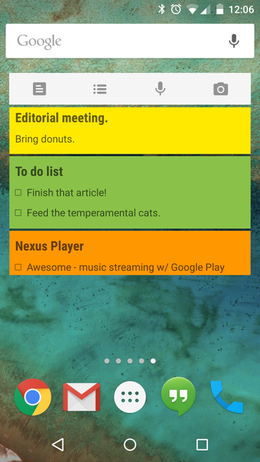 google keep android widget