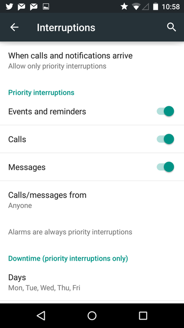 interruptions settings