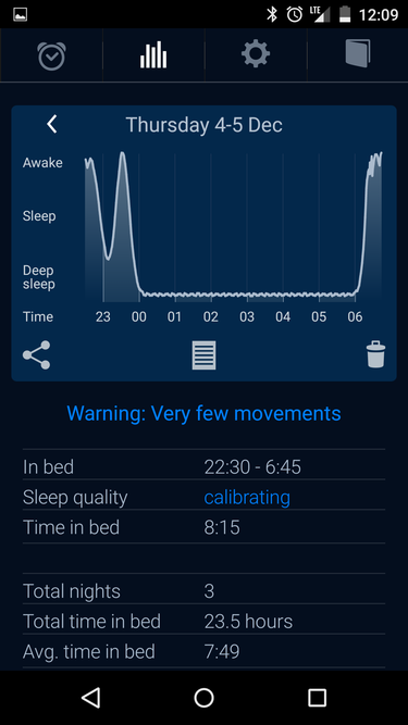 sleep cycle warning