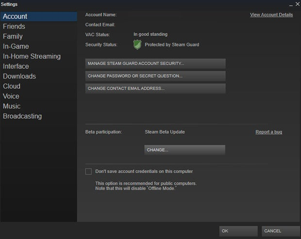 Steam settings beta