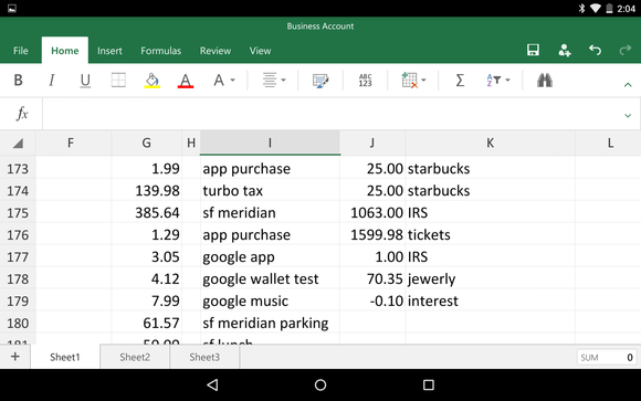 excel android sheets