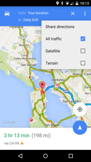 google maps share menu