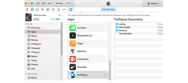 Using iTunes to copy the downloaded file.