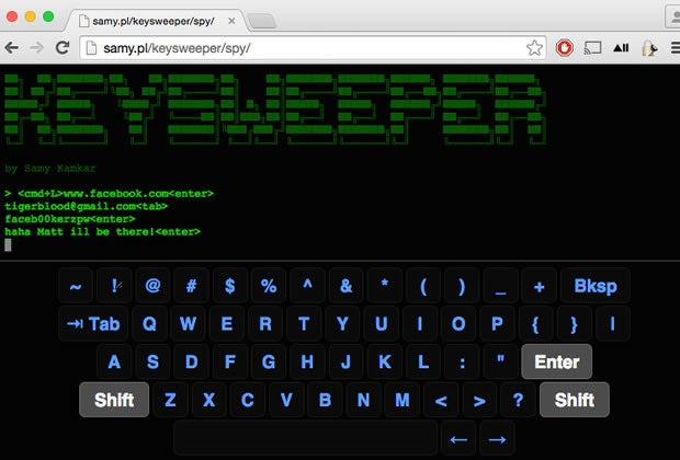 KeySweeper web-based tool for live monitoring of keystrokes