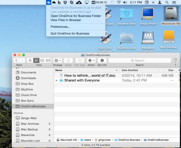 OneDrive for Mac full screenshot