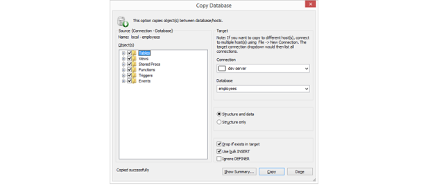 SQLyog's Copy Database tool