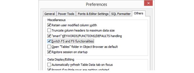 SQLyog Preferences dialog