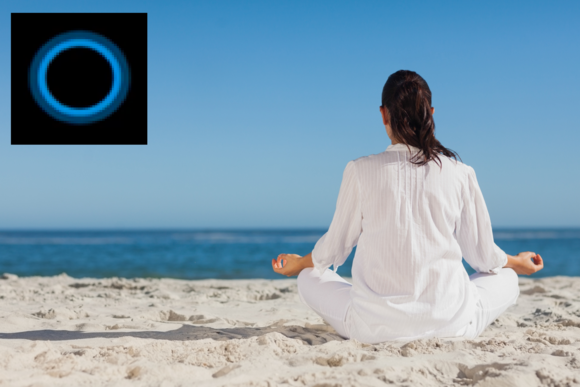 calm person meditating beach cortana