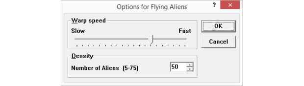 Options for Flying Aliens screensaver
