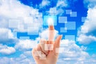 Woman's hand with cloud background pointing to virtual windows