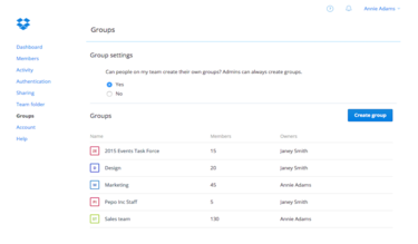 Dropbox for Business groups feature screenshot