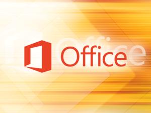 Microsoft Office logo [orange background pattern]