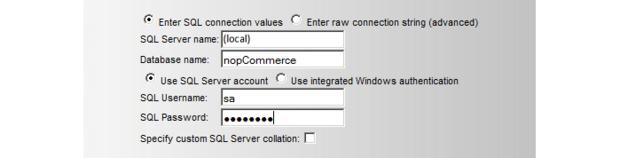 Enter SQL server connection information