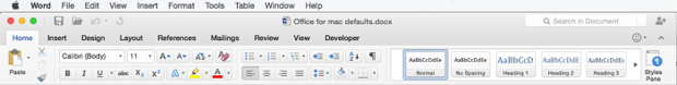 Office for Mac Preview toolbar