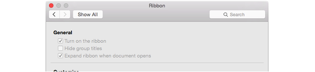 Office for Mac Preview ribbon preferences