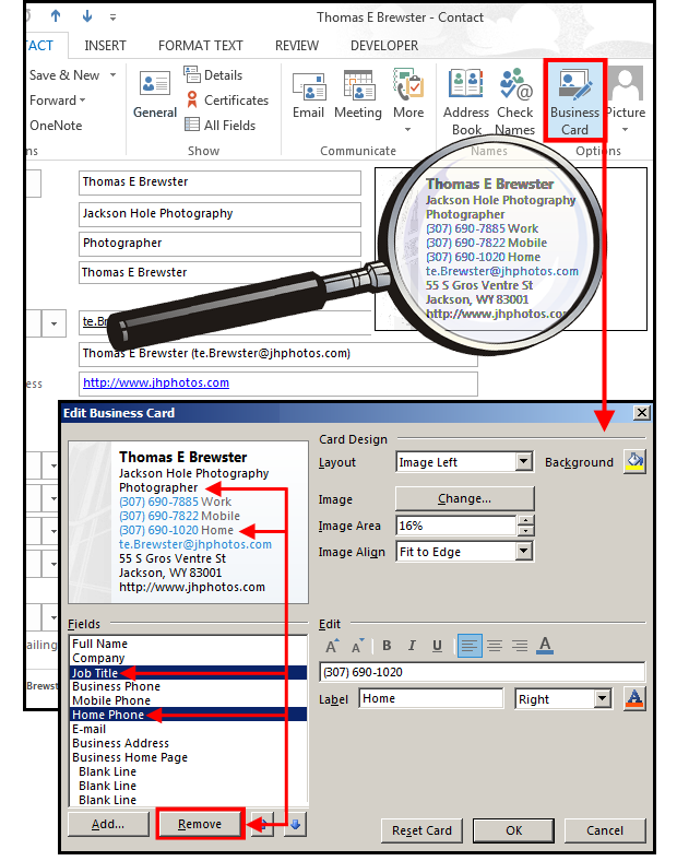 Create an electronic card in Outlook for all your business email ...