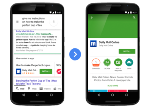 google search app indexing