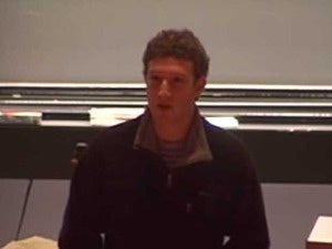 Mark Zuckerberg lecturing Harvard's CS50 in 2005
