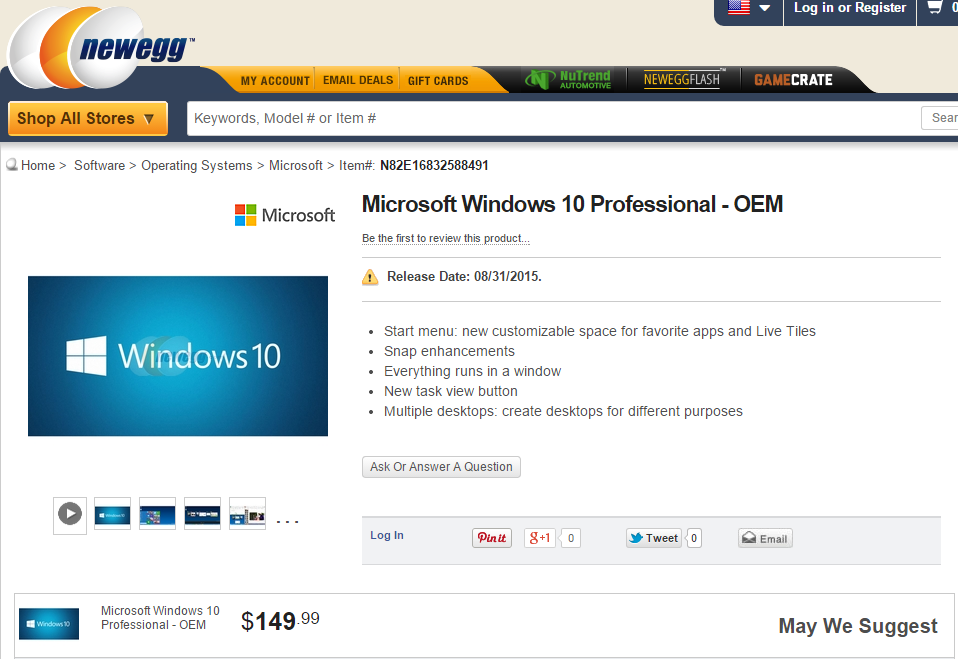 Newegg just leaked the windows 10 price and release date pcworld