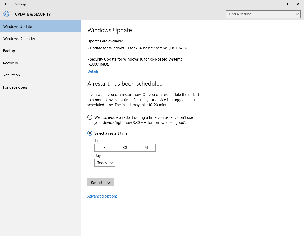 You Can Schedule Reboots To Occur At The Time Of Your Choosing By Heading  To Settings > Update & Security > Windows Update > Advanced Options >  Choose How