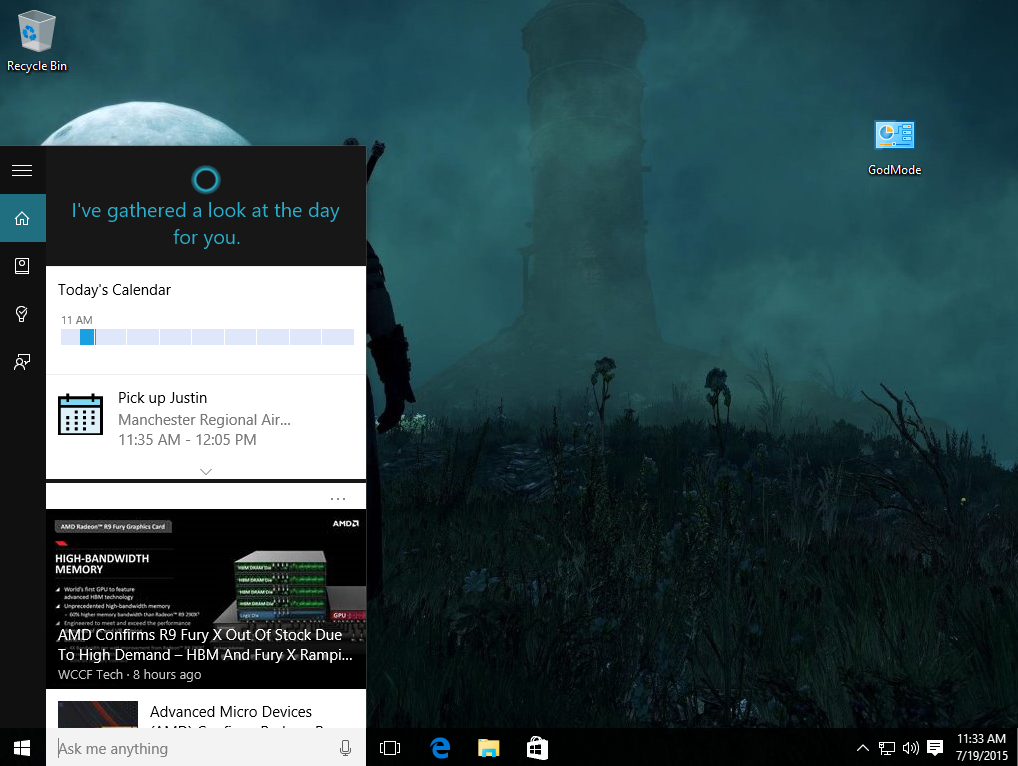 Cortana s personalized card interface which appears when you click