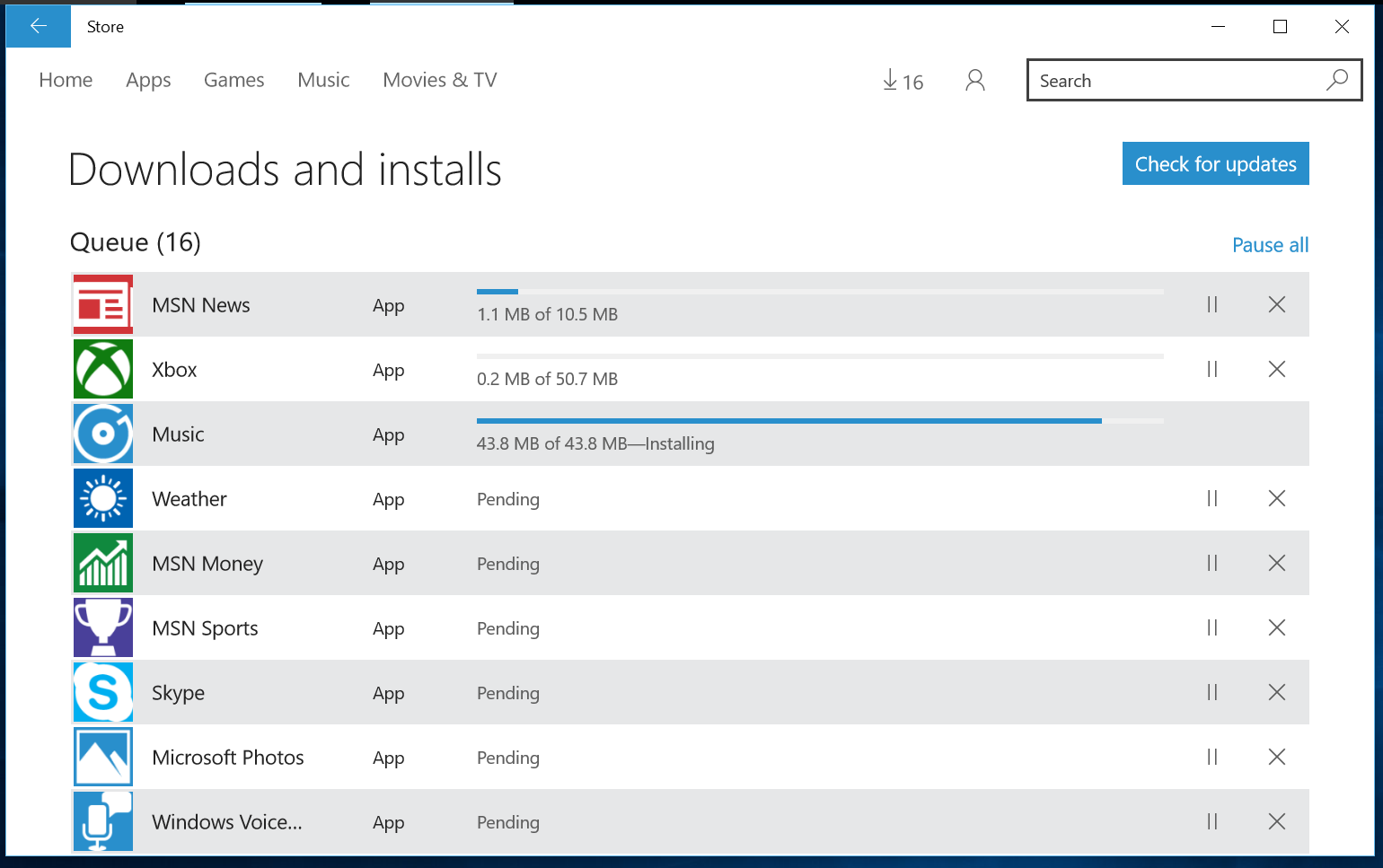 Apps are updated via the windows store not via windows update msn