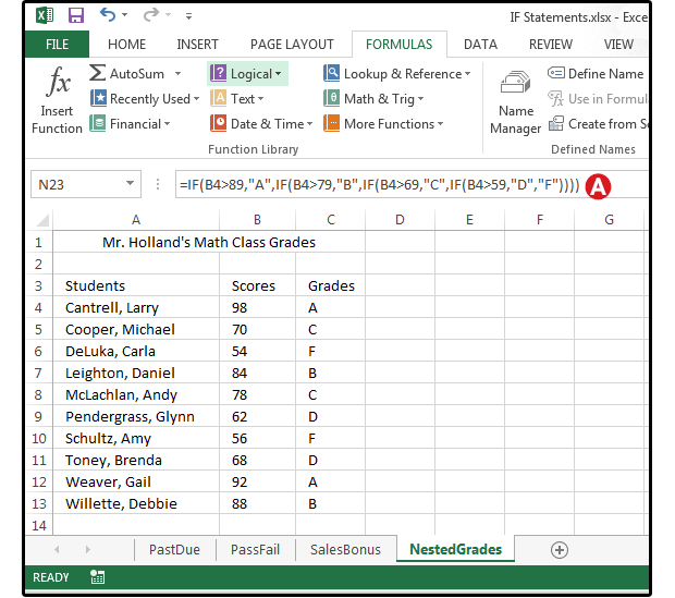Ediblewildsus  Winning Excel Logical Formulas  Simple If Statements To Get Started  With Lovely Use A Nested If Statement To Convert Numeric Scores To Letter Grades With Adorable Best Fit Line Excel Also Combine Excel Files In Addition Countif Function Excel And Excel Mid Function As Well As Design Tab In Excel Additionally Alphabetize In Excel From Pcworldcom With Ediblewildsus  Lovely Excel Logical Formulas  Simple If Statements To Get Started  With Adorable Use A Nested If Statement To Convert Numeric Scores To Letter Grades And Winning Best Fit Line Excel Also Combine Excel Files In Addition Countif Function Excel From Pcworldcom