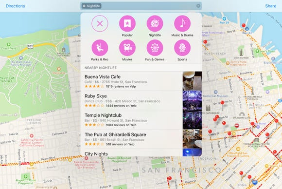 ios 9 maps nearby suggestions
