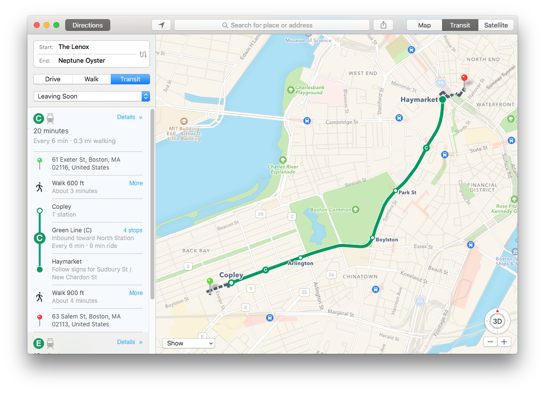 apple maps boston transit
