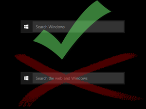 Disable search the web and windows