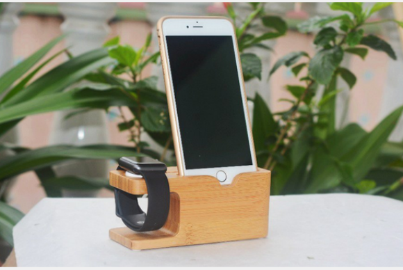 wood apple watch charger holder iphone holder
