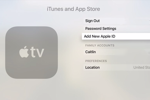 apple tv add account