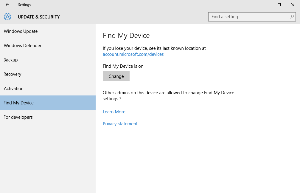 how to turn on windows 10 u0026 39 s find my device feature