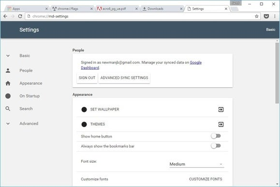 chromematerialsettings