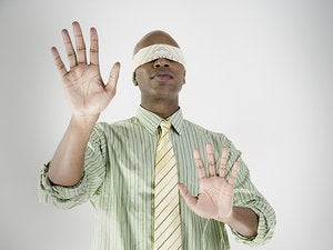 blindfold black man