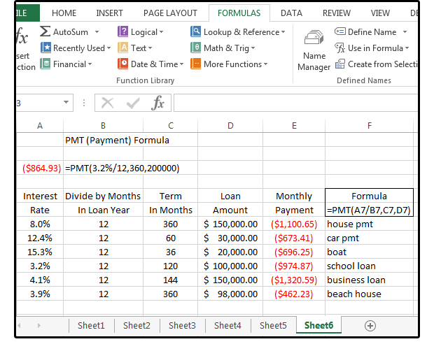 using excel to calculate mortgage payments