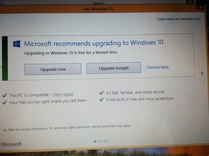 Windows 10 upgrade dialogue