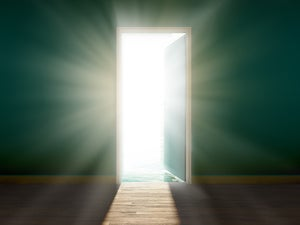 open door with sunlight shining through