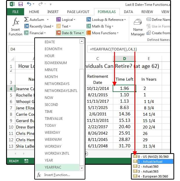 How to use excel date and time functions