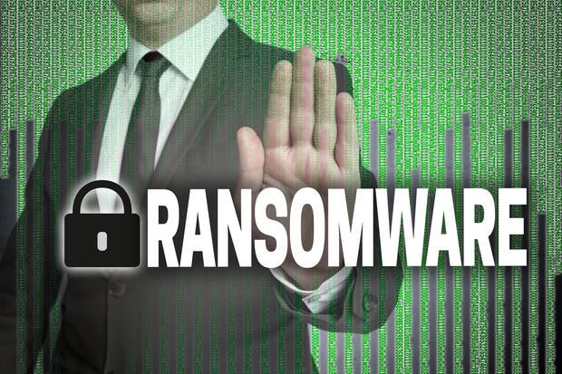man with a hand for ransomware