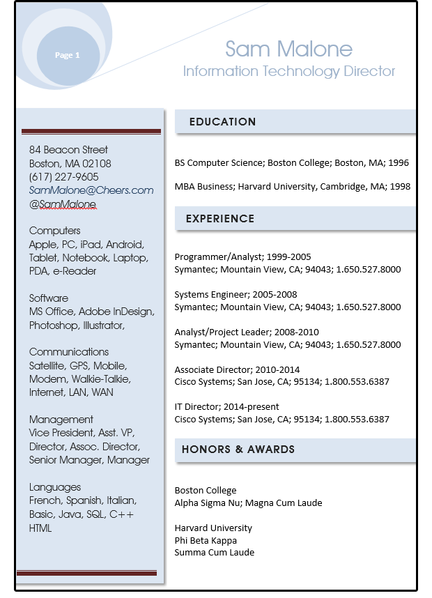Resume text box