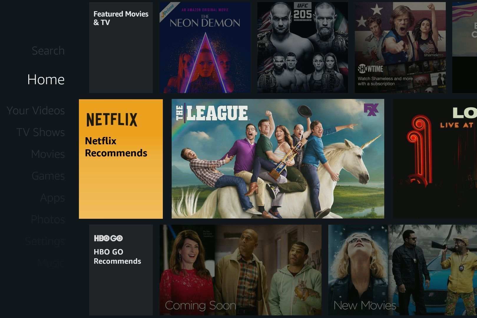 The Fire TV home screen no longer limits its recommendations to Amazon  #BC7F0F 1620 1080