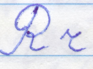 Letter r handwriting cursive