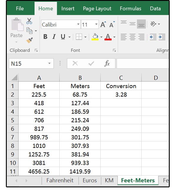 How excel can help with metric and american standard Foot in metric