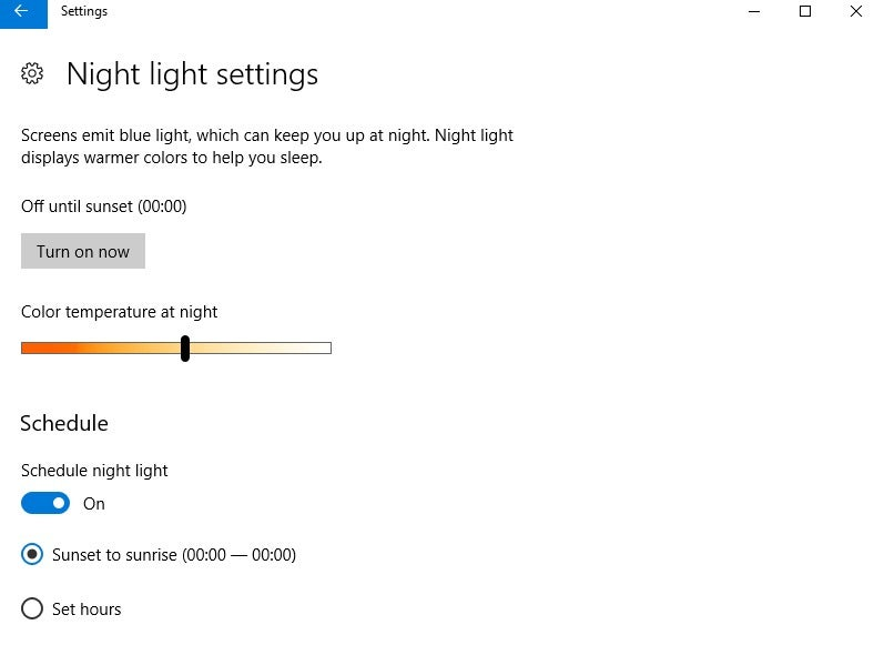 how to change screen to night mode windows 10